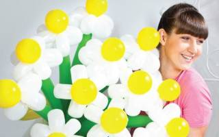 Ромашка из шаров: мастер класс с фото и видео
