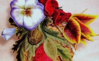 Вышивка шерстяными нитками: цветы и их схемы