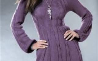 Теплое платье спицами: (вязаное)