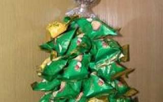 Как сделать елку из конфет своими руками: из бутылки шампанского и мишуры
