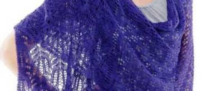 Ажурный шарф спицами и крючком: вязание палантина из мохера