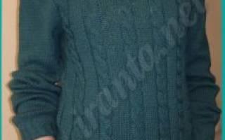 Мужской свитер спицами со схемами и описанием: реглан сверху для начинающих