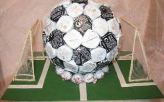 Футбольный мяч из конфет: мастер класс своими руками