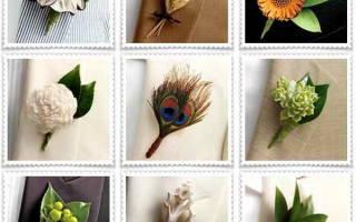 Бутоньерка для жениха: делаем из атласных лент и из живых цветов