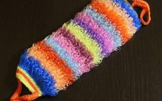 Мочалка крючком с вытянутыми петлями: схема для начинающих