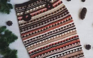 Тёплая юбка крючком: юбка узором волна