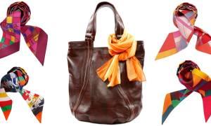 Как завязать платок на сумку красиво