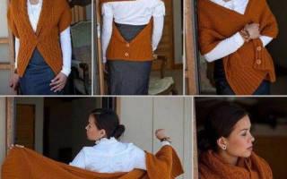 Шарф с рукавами: схема как вязать спицами