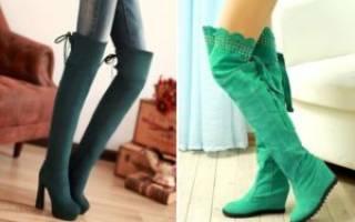 С чем носить зеленые ботфорты