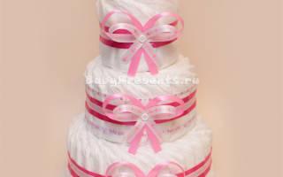 Торт из памперсов для девочек: мастер класс пошагово