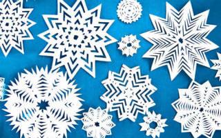 Схемы вырезания из бумаги: несколько снежинок на новый год
