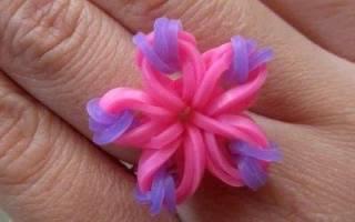 Как сплести из резинок кольцо: делаем поделку с цветком и делаем бантик