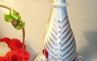 Бутылка на свадьбу своими руками: невеста из лент и жених